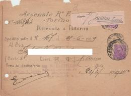 P1 Ricevuta Di Ritorno  Arsenale R. Esercito Doppia Affrancatura Rispedizione - Poststempel