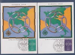 Europa 1959 La Paix Et La Prospérité Par L'Europe 2 Cartes Postales Paris 19.IX.59 N°1218 & 1219  - Europa-CEPT