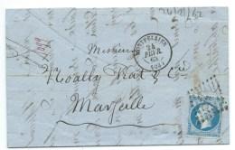 N° 14 BLEU NAPOLEON SUR LETTRE / MONTPELLIER POUR MARSEILLE / 24 FEV 1862 - Storia Postale