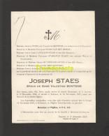 FAIRE PART MORTUAIRE DOODSBRIEF 1927 TOURNAI JOSEPH STAES VALENTINE BONTEMS - Décès