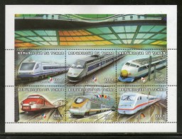 Chad 1997 High Speed Trains Of World Railway Metro Railway Locomotive Sc 746g Sheetlet MNH # 6254 - Trains
