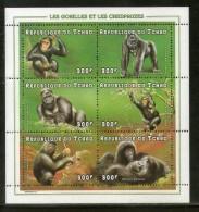 Chad 1998 Gorillas & Chimpanzees Animals Wildlife Sc 770 Sheetlet MNH # 7980 - Chimpanzees