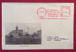 S.GIOVANNI IN PERSICETO FRAZIONE DI AMOLA  BUSTA ED ANNULLO  SPECIALE  TARGHETTA ROSSA  40 ANN. RESISTENZA 1984 - Eventi