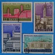 France 1958 : Villes Reconstruites N° 1152 à 1155 Oblitéré - Usati