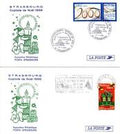 Lot 2 Enveloppes 1er Jour 1999 - Strasbourg Capitale De Noël - POSTA - Expo Philatélique - 1980-1989