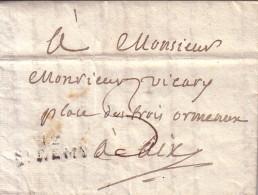 BOUCHES DU RHONE - 12 ST REMY - DU 30-8-1814 - LETTRE DE M.MERCURIN MEDECIN POUR M.EDGARD VICARY A AIX.AVEC TEXTE . - Marcophilie (Lettres)