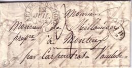 BOUCHES DU RHONE - ARLE SUR RHONE - DU 12-7-1833 - DECIME NOIR - LETTRE POUR MOTEUX VAUCLUSE - TAXE 3 MANUSCRITE. - Marcophilie (Lettres)