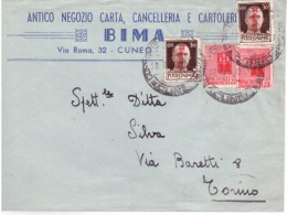 Lettera Da Cuneo Per Torino Del28/10/1944    A359 - Marcophilia
