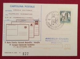 INTERO POSTALE  CASTELLI  L. 200  STAMPA PRIVATA  FIORENZUOLA D'ARDA  CIRCOLO CULTURALE CON ANNULLO SPECIALE IN DATA - Eventi