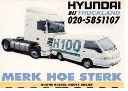 REF 242  : CPM Publicitaire HYUNDAI Camion Truck Land - Camions & Poids Lourds