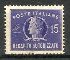 1949 RECAPITO AUTORIZZATO  L. 15 Nuovo Senza Gomma - 1946-60: Usati