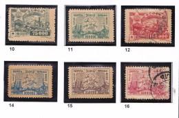RUSSIE 1923 CAUCASE 10 A 12 14 A 16 MH SAUF 12 16 OBLITERES