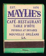 Pochette D´allumettes : Maylie´s, Café-Restaurant, Table D´Hôte, Poydras At Dryades, Nouvelle-Orléans (3 Scans) - Matchboxes