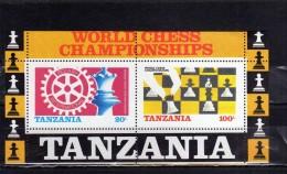 TANZANIA 1986 ROTARY INTERNATIONAL WORLD CHESS SHAMPIONSHIP CAMPIONATO DI SCACCHI SHEET BLOCK FOGLIETTO MNH - Tanzania (1964-...)