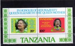 TANZANIA 1985 QUEEN MOTHER ROYAL FAMILY REGINA MADRE SHEET BLOCK BLOCCO FOGLIETTO MNH - Tanzania (1964-...)