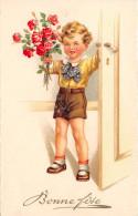 CPA Fantaisie - Illustrateur - Enfant - Garçon - Fleurs - Bonne Fête - Illustrateurs & Photographes