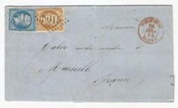 - Lettre - BFE TUNIS - GC.5015 (BONE) S/TP Napoléon III N°21+22 + Càd  T.15 - TUNIS-BONE Rouge - 1864 - 1862 Napoleone III