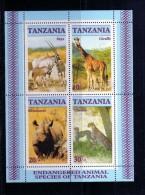 TANZANIA 1986 FAUNA ANIMALS ANIMALI ORYX GIRAFFE RHINOCEROS CHEETAH SHEET BLOCK BLOCCO FOGLIETTO MNH - Tanzania (1964-...)