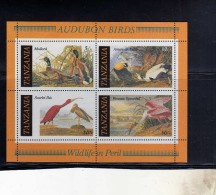 TANZANIA 1986 FAUNA BIRDS UCCELLI MALLARD AMERICAN EIDER SCARLET IBIS ROSEATE SPOONBILL SHEET BLOCK BLOCCO FOGLIETTO MNH - Tanzania (1964-...)