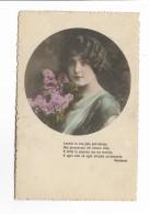 DONNA CON LILLA CON POESIA CARDUCCI VIAGGIATA FP 1918 - Künstlerkarten