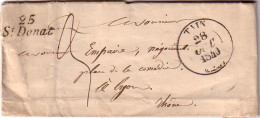DROME - 25 ST DONNAT - CURSIVE - CACHET TAIN LE 28-10-1840 - LETTRE POUR LYON  AVEC TEXTE. - Marcophilie (Lettres)