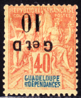 Guadeloupe 1903 10c On 40c G Et D Overprint Inverted. Scott 46c. MH. - Guadalupe (1884-1947)
