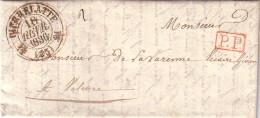 DROME - PIERRELATTE - T12 EN ROUGE + NOIR DESSUS - LETTRE EN PORT PAYE DU 18-2-1836 POUR M.DE LA VARENNE VICALE VICAIRE - Marcophilie (Lettres)