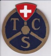 TOURING CLUB DE SUISSE - TCS - CHAPA METALICA ESMALTADA DE COCHE - AÑ0 1950/60 - DIAMETRO 7,5 CMS - Automóviles