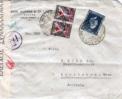 GRIECHENLAND NACHPORTO 1937 - 2 X 50 ? Nachporto + 8 ? Auf Zensur-Brief Gel.v. Athen > Stockerau Bei Wien - Griechenland