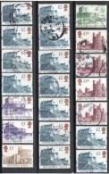 GRANDE BRETAGNE Petit Lot De 21 Timbres Oblitérés Série Courante Châteaux Britanniques - 1952-.... (Elizabeth II)