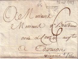 DROME - CREST - LETTRE AVEC TEXTE POUR TOURNON  LE 21-6-1789 - TAXE 6 - AVEC TEXTE - COTE 80€. - Marcophilie (Lettres)