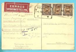 341 Op Kaart (Pharmacie HARVENT) Per EXPRES Met Telegraafstempel HOUDENG  (cp 50c + Exp. 1.75 = 2.25 / Port Juste) - 1931-1934 Kepi