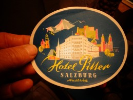 Hotel Pitter Salzburg Austria : Ancienne Etiquette D'Hotel Pour Bagage - Hotel Labels