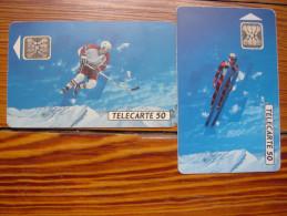 Lot De 2 Télécartes De Ski Lors Des XVI  Jeux Olympiques D´hiver - Jeux Olympiques