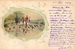 CHASSE A COURRE CARTE 1904 AVEC FLEURS EN RELIEF - Chasse