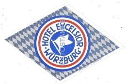 37852 GERMANY WÜRZBURG HOTEL EXCELSIOR LUGGAGE NO POSTAL POSTCARD - Hotel Labels