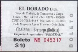 Argentina 2015 Boleto Fluvial El Dorado Ltda. Puerto Chalana - Bermejo. See Desc. - Boats