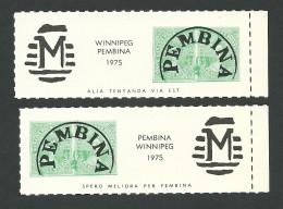 B35-30 CANADA-USA Winnipeg Pembina Bileski Local Post 1975 MNH - Local, Strike, Seals & Cinderellas