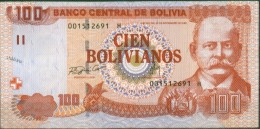 Bolivia 1987 (2010) Bs100 Serie H. Diferencia Tinta De Seriales. 4 Scan. See Description. - Bolivien