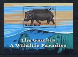 GAMBIA SHEET MNH WILDLIFE HIPPOS HIPPOPOTAMUSES FAUNA SALVAJE FAUNE - Timbres