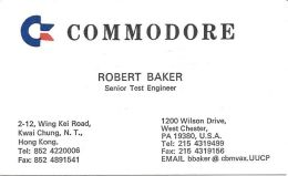 Commodore Business Machines Business Cards - USA & Hong Kong Addresses - English & Chinese