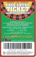 Casino Di Venezia - Cardboard Free Entry Card Valid Until August 2015 - Casino Cards