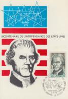 Carte Maximum  1er   Jour   ANDORRE    Bicentenaire  Des   U.S.A    1976 - Unabhängigkeit USA