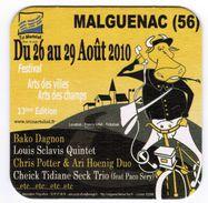 SOUS-BOCK MALGUENAC 56 AOUT 2010 FESTIVAL ARTS DES VILLES ARTS DES CHAMPS 13ème EDITION BAKO DAGNON LOUIS SCLAVIS - Sous-bocks
