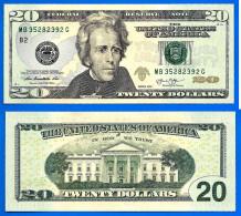 USA 20 Dollars 2013 Neuf UNC Mint New York B2 Suffixe G Etats Unis United States Dollars US Paypal Skrill Bitcoin OK - Large Size - Taglia Grande (...-1928)