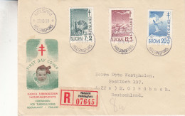Finlande - Lettre Recommandée De 1951 - Oblit Helsinki - Oiseaux - Coq - Grues - Pour La Tuberculose - Exp Vers Gladbach - Cartas