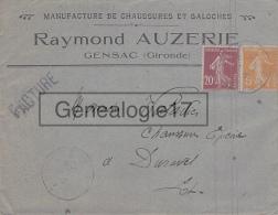 33 3023 GENSAC GIRONDE 1925 Manufacture Chaussures Galoches RAYMOND AUZERIE Succ O. ESCURIER Sabot Savoyard A VALADIE - Storia Postale