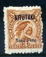 Aitutaki 1903-11 New Zealand Overprints - 3d Huias HM (SG 5) - Aitutaki