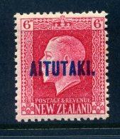 Aitutaki 1917-18 New Zealand Overprints - KGV Recess - 6d Carmine - P.14 X 14½ - LHM (SG 17a) - Aitutaki