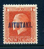 Aitutaki 1917-18 New Zealand Overprints - KGV Recess - 1/- Vermilion - P.14 X 13½ - LHM (SG 18) - Aitutaki